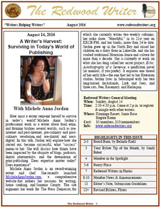 Redwood Writer August 2016 newsletter