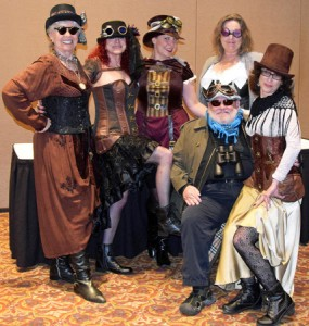 Redwood Writers board members dress in Steampunk fashion for the contest's launch in May 2016.